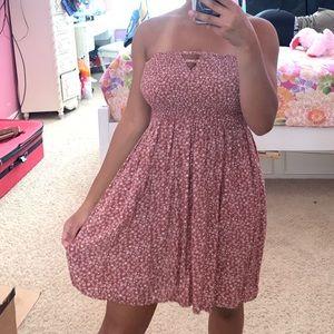 Dresses & Skirts - Pink Floral Strapless Dress (3/$22)